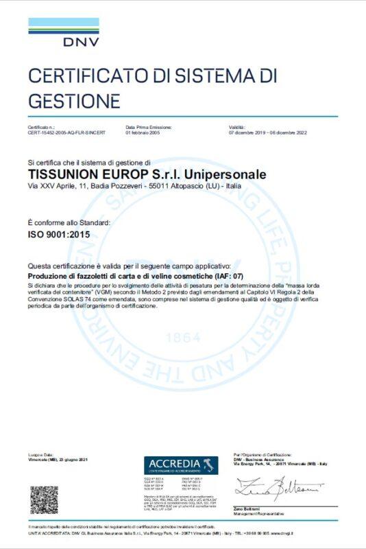 certificato ISO 9001 aggiornato Solas