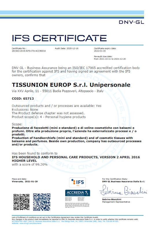 certificato ifs 2021_